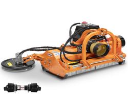 slagleklipper med hydraulisk sideforskydelse og trimmer på arm til frugtplantage traktorer mod interfila 150
